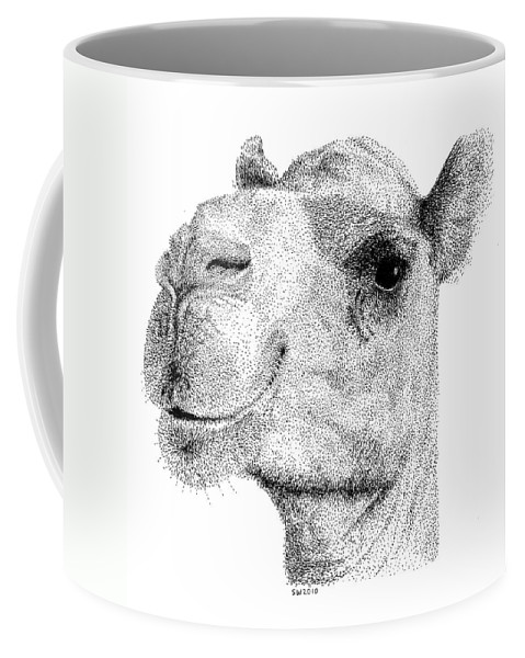 Camel Coffee Mug featuring the drawing Camel by Scott Woyak
