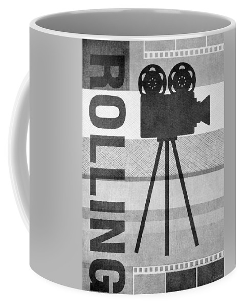 Movie Coffee Mug featuring the mixed media Cameras Rolling- Art By Linda Woods by Linda Woods
