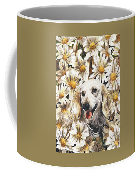 Dachshund Coffee Mug featuring the drawing Camoflaged by Barbara Keith