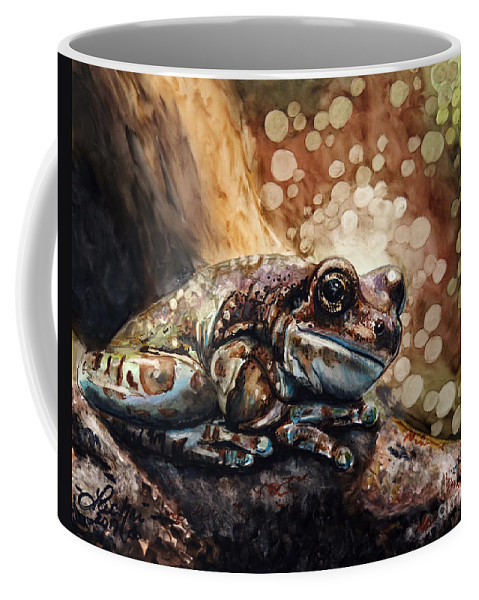 Frog Coffee Mug featuring the drawing Camouflage by Lachri