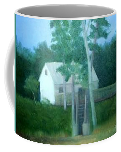 Trees Coffee Mug featuring the painting Camp by Sheila Mashaw