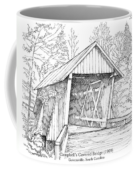 Covered Wooden Bridge Coffee Mug featuring the drawing Campbell's Covered Bridge by Greg Joens