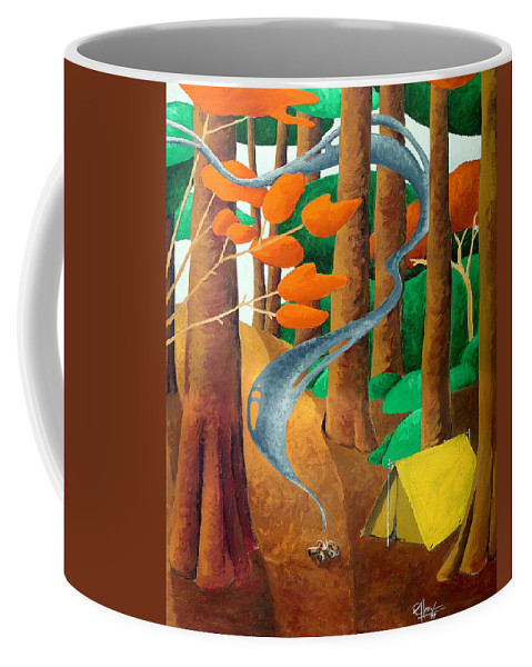 Landscape Coffee Mug featuring the painting Camping - Through The Forest Series by Richard Hoedl