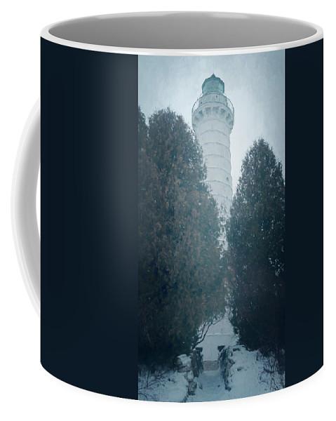 Joan Carroll Coffee Mug featuring the photograph Cana Island Lighthouse Wisconsin Painterly by Joan Carroll