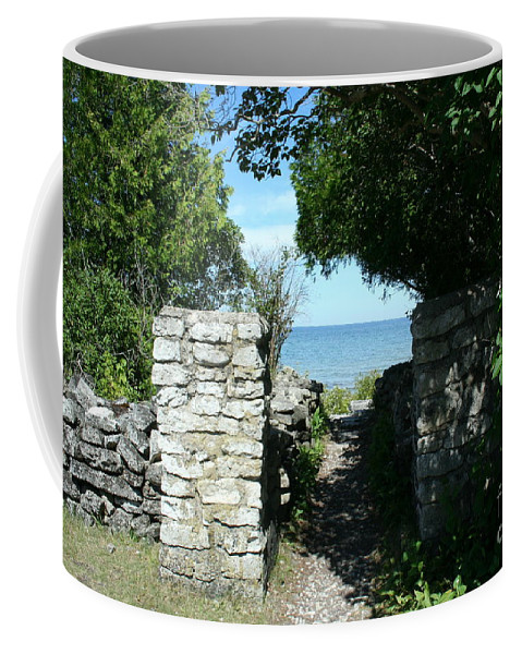 Cana Island Coffee Mug featuring the mixed media Cana Island Walkway Wi by Tommy Anderson