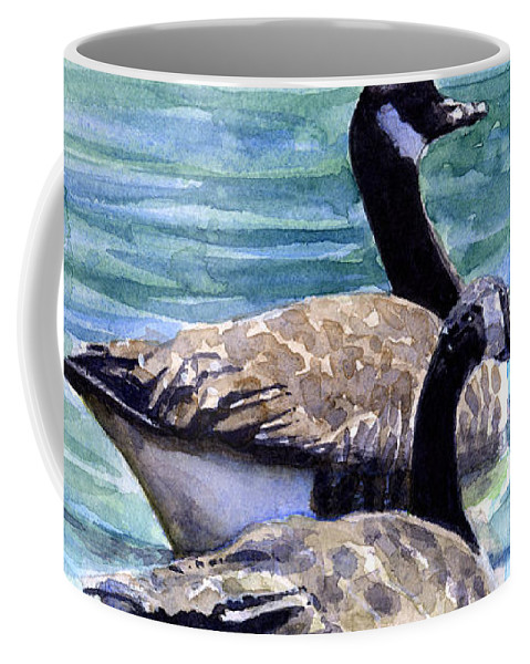 Canada Coffee Mug featuring the painting Canada Geese by John D Benson