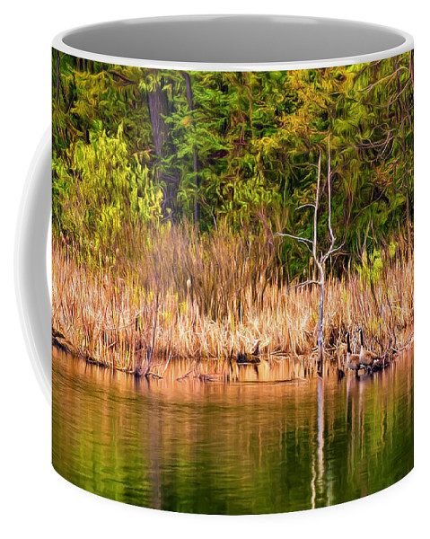 Ontario Coffee Mug featuring the photograph Canada Goose Couple - Paint by Steve Harrington
