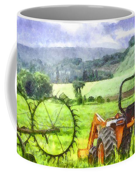 Tractor Coffee Mug featuring the photograph Canadian Farmland With Tractor by Betty Denise