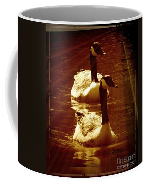 Bird Coffee Mug featuring the photograph Canadian Gees by Leslie Revels