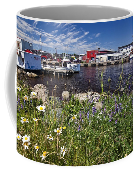 Boats Coffee Mug featuring the photograph Canadian Harbor On A Sunny Day by Sven Brogren