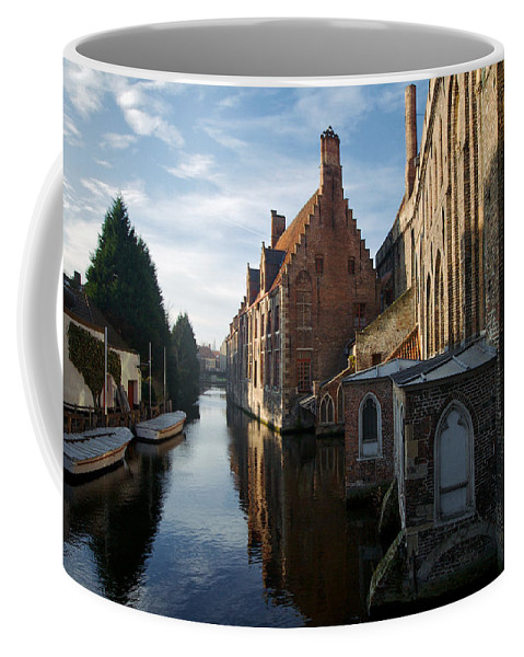 Lawrence Coffee Mug featuring the photograph Canal By Church by Lawrence Boothby