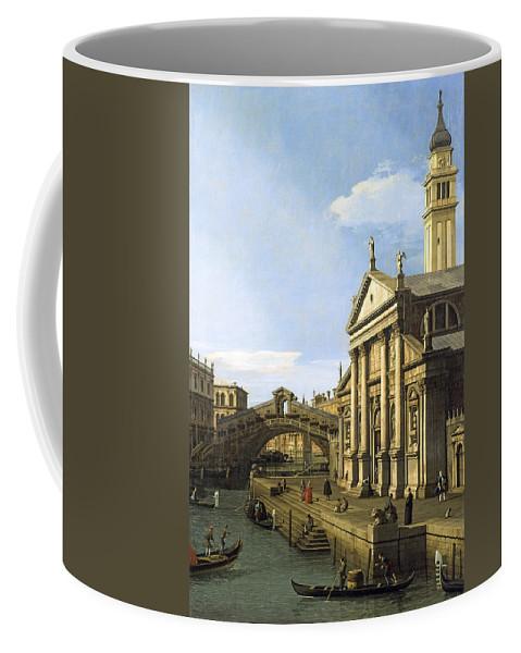 Capriccio The Rialto Bridge And The Church Of S. Giorgio Maggiore By Canaletto Coffee Mug featuring the digital art Canaletto by Mark Carlson