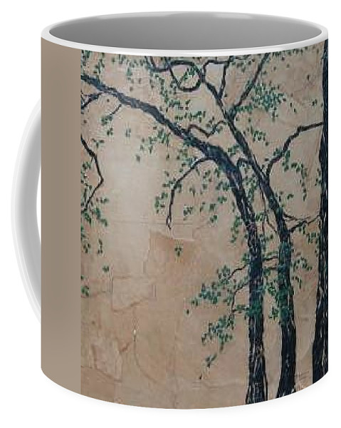 Leafy Tree Coffee Mug featuring the painting Canandaigua Lake by Leah Tomaino