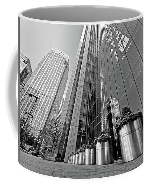 London Coffee Mug featuring the photograph Canary Wharf Financial District In Black And White by Gill Billington
