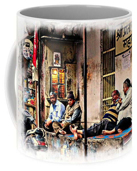 Hanging Out Coffee Mug featuring the photograph Candid Bored Yawn Pj Exotic Travel Blue City Streets India Rajasthan 1a by Sue Jacobi