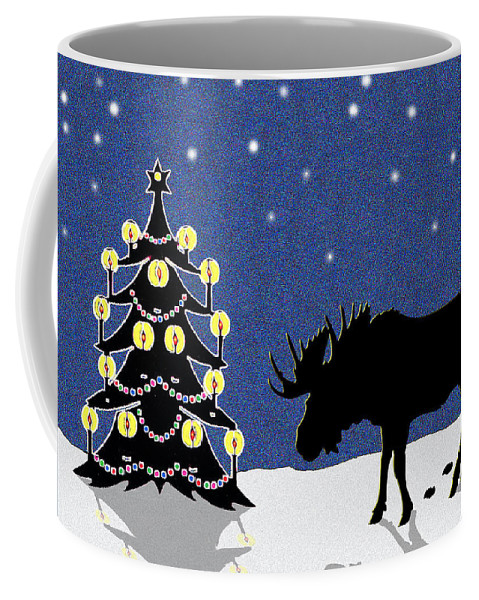 Moose Coffee Mug featuring the digital art Candlelit Christmas Tree and Moose in the Snow by Nancy Mueller