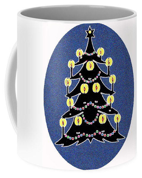 Christmas Coffee Mug featuring the digital art Candlelit Christmas Tree by Nancy Mueller