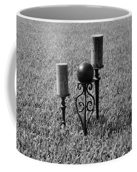 Black And White Coffee Mug featuring the photograph Candles In Grass by Rob Hans