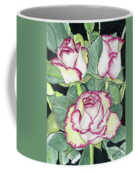 Roses Coffee Mug featuring the painting Candy Cane Roses by Alexis Grone