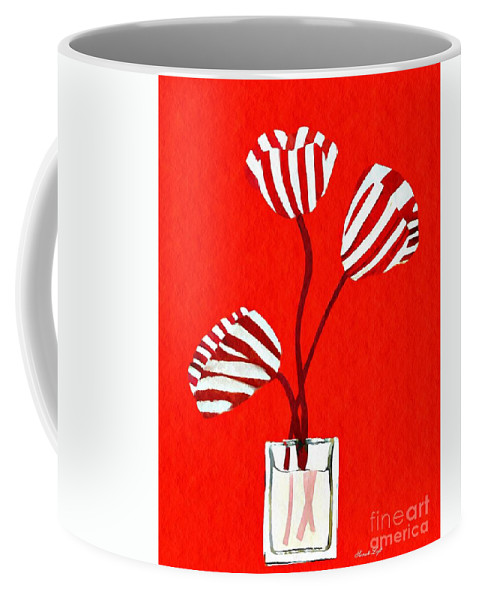 Tulip Coffee Mug featuring the mixed media Candy Stripe Tulips by Sarah Loft