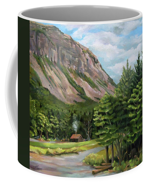Cannon Mountain Coffee Mug featuring the painting Cannon Cliff New Hampshire by Nancy Griswold