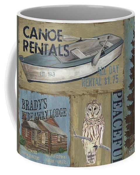 Lodge Coffee Mug featuring the painting Canoe Rentals Lodge by Debbie DeWitt