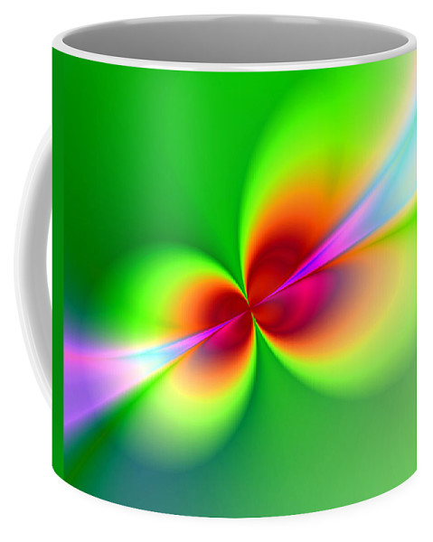 Abstract Coffee Mug featuring the painting Canoodeling Neon Nodes Fractal by Elaine Plesser