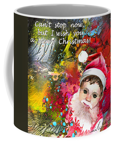 Santa Baby Painting Coffee Mug featuring the painting Cant Stop Now by Miki De Goodaboom