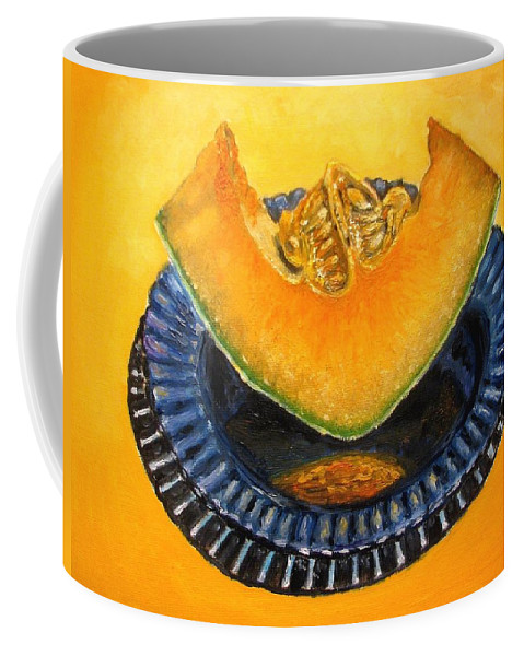 Cantaloupe Coffee Mug featuring the painting Cantaloupe Oil Painting by Natalja Picugina