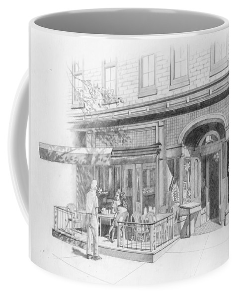 Coffee Mug featuring the drawing Cantina Restaurant In Saratoga Springs Ny Storefront by James Robinson