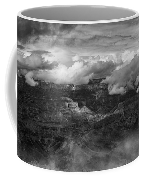 Grand Canyon Coffee Mug featuring the photograph Canyon In Clouds Bw by Belinda Greb