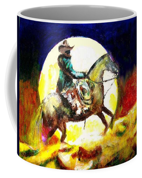 Canyon Moon Coffee Mug featuring the painting Canyon Moon by Seth Weaver