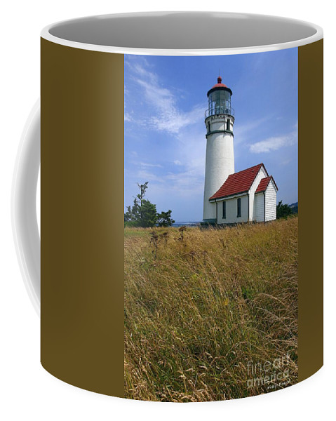 Lighthouse Oregon cape Blanco Light Coast Coffee Mug featuring the photograph Cape Blanco Light by Winston Rockwell