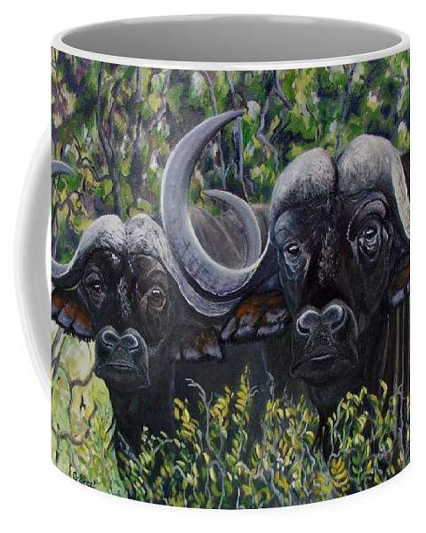 Buffalo Coffee Mug featuring the painting Cape Buffalo First Painting by Caroline Street