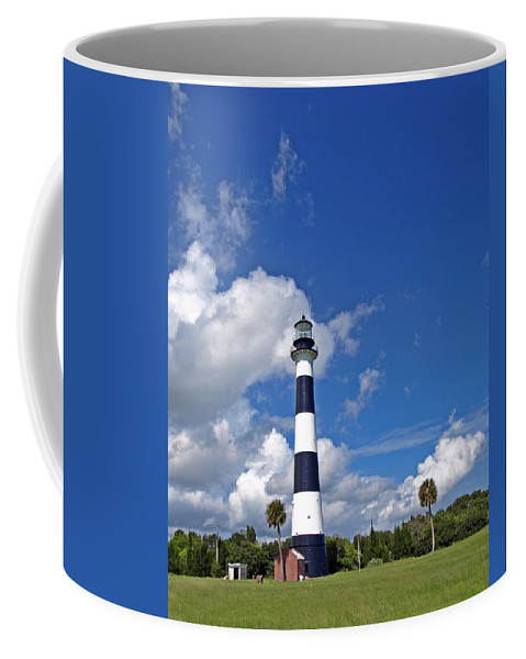 Lighthouse; Light; Canaveral; Cape; Cape Canaveral; Ccafs; Florida; East; Coast; Kennedy; Space; Cen Coffee Mug featuring the photograph Cape Canaveral Light In Florida by Allan Hughes
