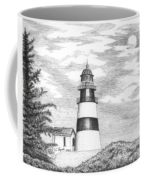 Lighthouse Coffee Mug featuring the drawing Cape Disappointment Lighthouse by Lawrence Tripoli