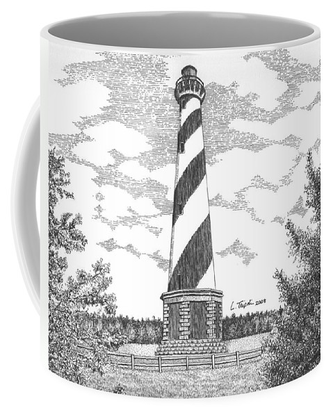 Lightouse Coffee Mug featuring the drawing Cape Hatteras Lighthouse by Lawrence Tripoli