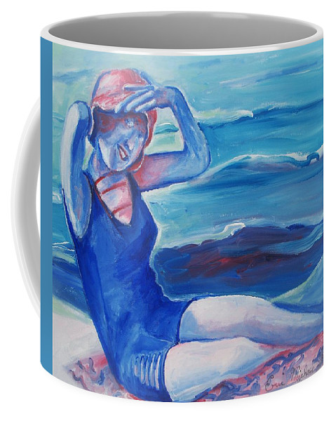 Beach Coffee Mug featuring the painting Cape May 1920s Girl by Eric Schiabor