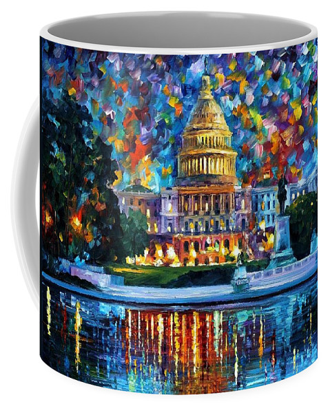 Afremov Coffee Mug featuring the painting Capital At Night - Washington by Leonid Afremov