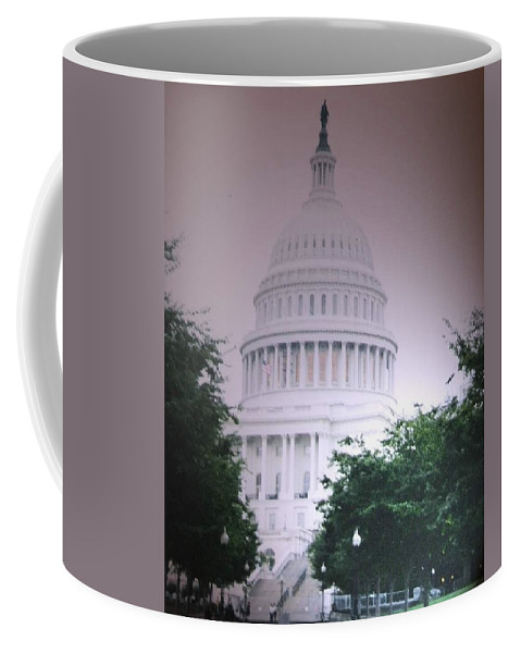Capitol Coffee Mug featuring the photograph Capitol In Pink by Pharris Art