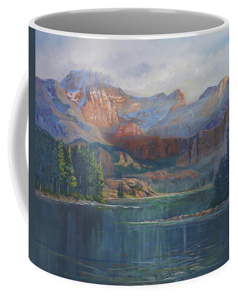 Capital Peak Coffee Mug featuring the painting Capitol Peak Rocky Mountains by Heather Coen