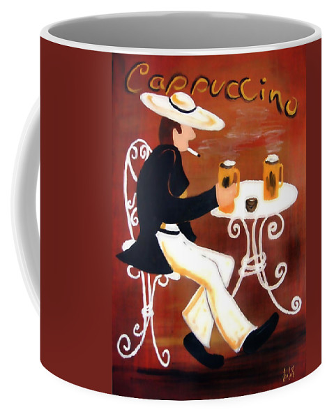 Cappuccino Coffee Mug featuring the painting Cappuccino by Helmut Rottler