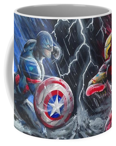Ironman Coffee Mug featuring the painting Captain American Vs Ironman by Tyler Haddox