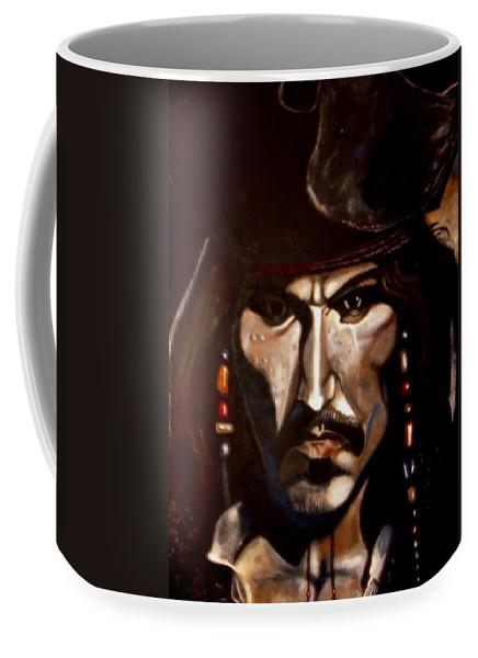 Captain Jack Sparrow Coffee Mug featuring the painting Captain Jack Sparrow by Herbert Renard