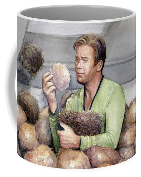 Star Trek Coffee Mug featuring the painting Captain Kirk And Tribbles by Olga Shvartsur