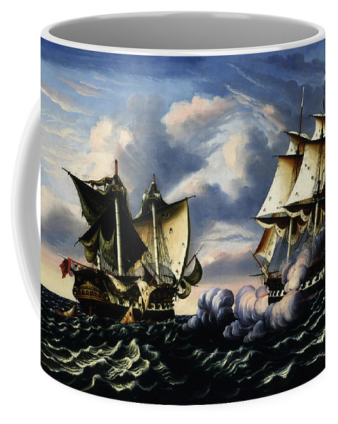 American Art Coffee Mug featuring the painting Capture Of H.b.m. Frigate Macedonian By U.s. Frigate United States, October 25, 1812 by Thomas Chambers