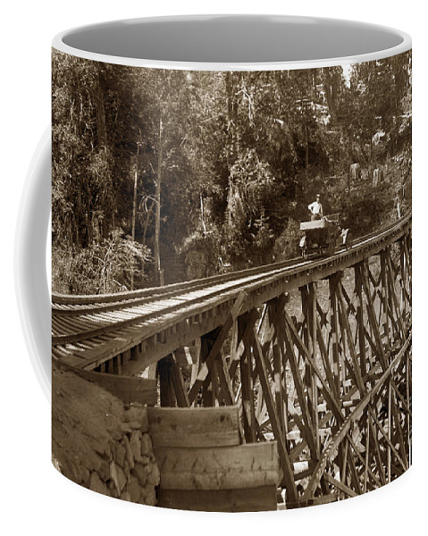 Car Coffee Mug featuring the photograph Car On A Wooden Railroad Trestle Circa 1916 by California Views Archives Mr Pat Hathaway Archives