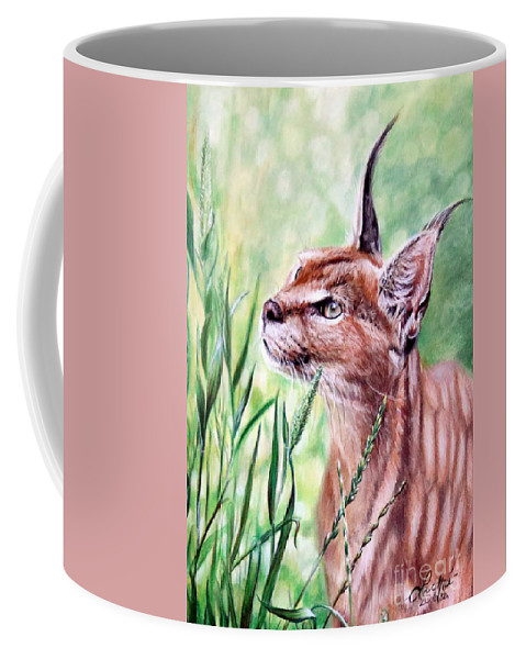 Caracal Coffee Mug featuring the painting Caracal by Lachri