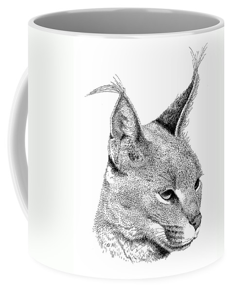 Caracl Coffee Mug featuring the drawing Caracal by Scott Woyak