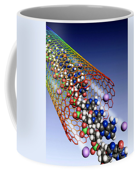 Science Coffee Mug featuring the photograph Carbon Nanotube, Ions And Dna by Science Source